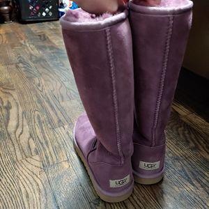 Tall purple ugh boots